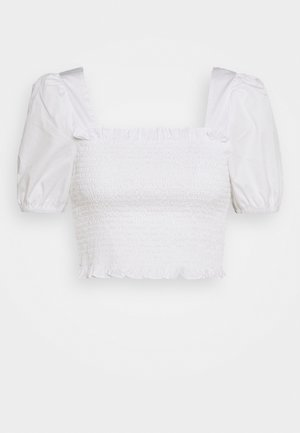 PUFF SLEEVE RUCHED CROP - T-shirts med print - white