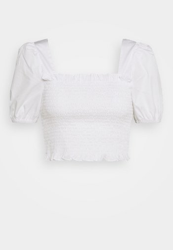 PUFF SLEEVE RUCHED CROP - T-Shirt print - white