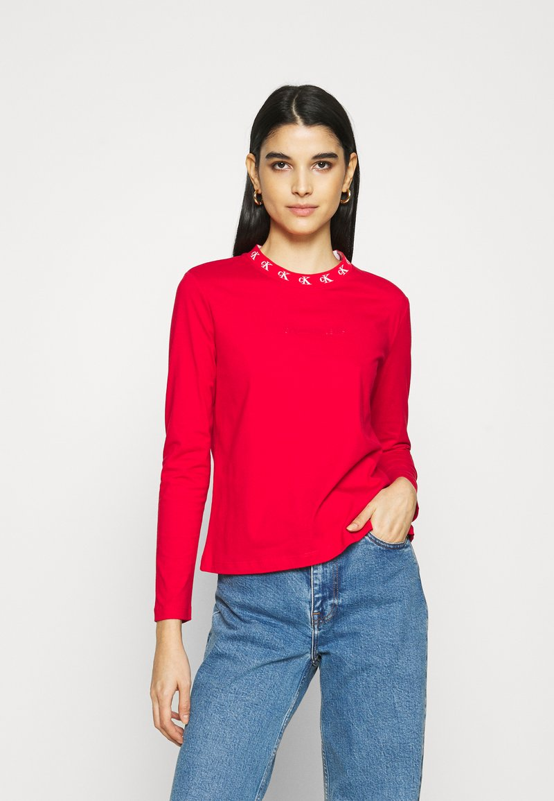 Calvin Klein Jeans - LOGO TRIM TEE - Long sleeved top - red hot
