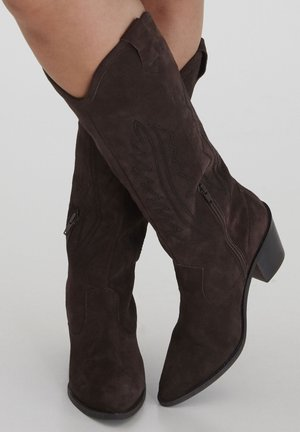 Cowboy/biker ankle boot - cappuccino