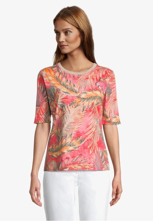 Print T-shirt - red/camel