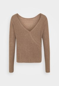 Even&Odd - BASIC- BACK DETAIL JUMPER - Stickad tröja - light brown - 4