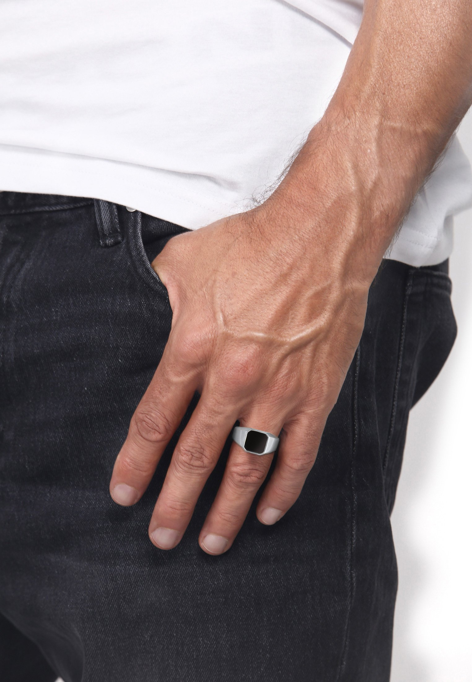 Homme CHUNKY SQUARE BLACK - Bague