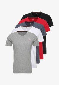 Hollister Co. - 5 PACK  - T-shirt imprimé - white/grey/red/navy texture/black - 7