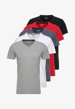5 PACK  - Triko spotiskem - white/grey/red/navy texture/black