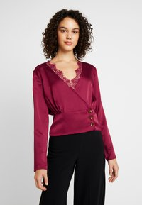 Missguided - WRAP BUTTON - Blouse - burgundy - 0