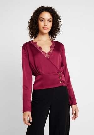 WRAP BUTTON - Bluzka - burgundy