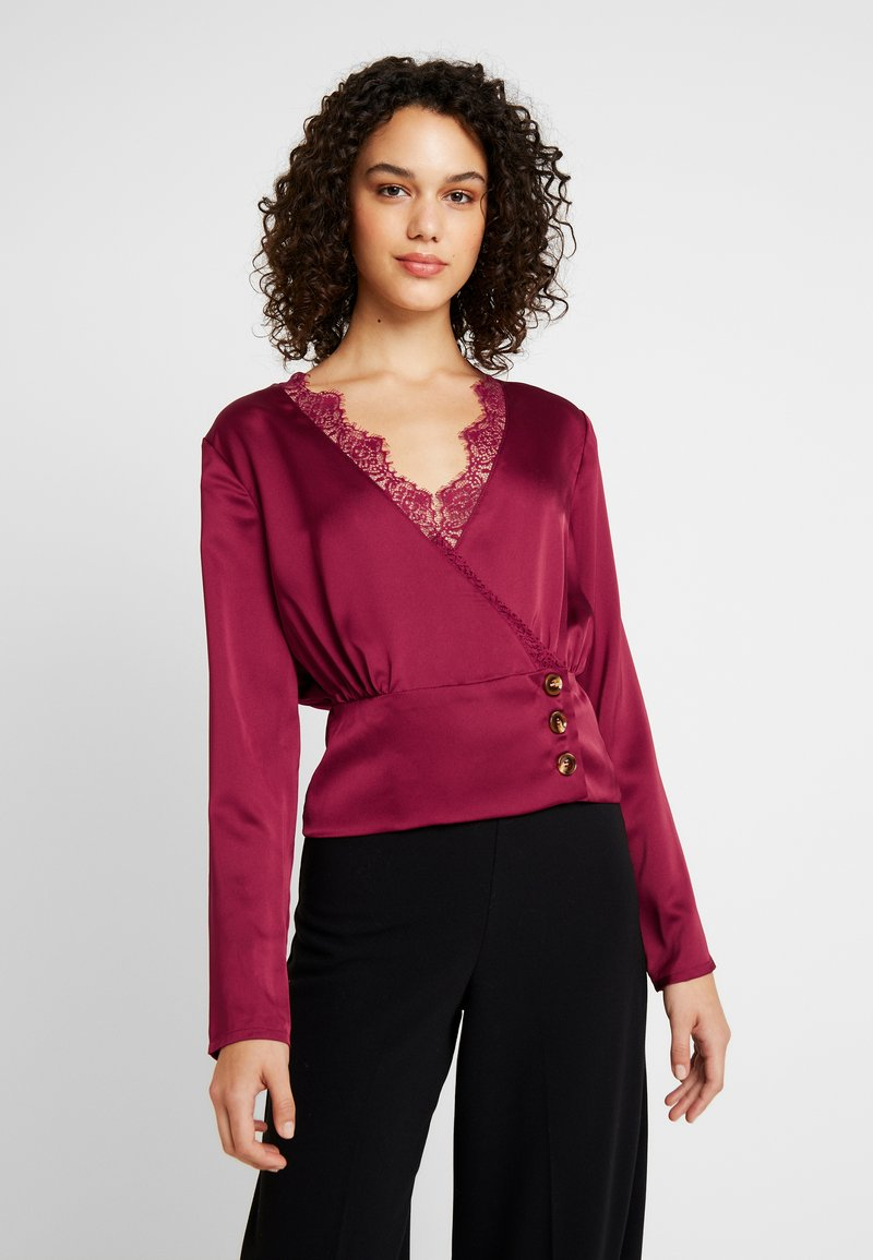 Missguided - WRAP BUTTON - Blouse - burgundy