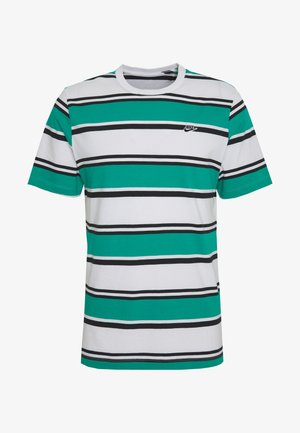 STRIPE TEE - Print T-shirt - white/neptune green/black