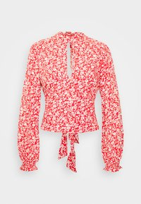 Abercrombie & Fitch - TIE BACK BLOUSE  - Blůza - red/white - 4