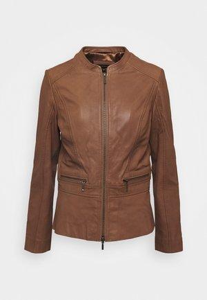 JACKET - Leather jacket - noisette
