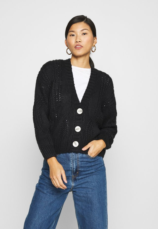 CABEL V NECK BUTTON FRONT CARDIGAN - Cardigan - dark blue