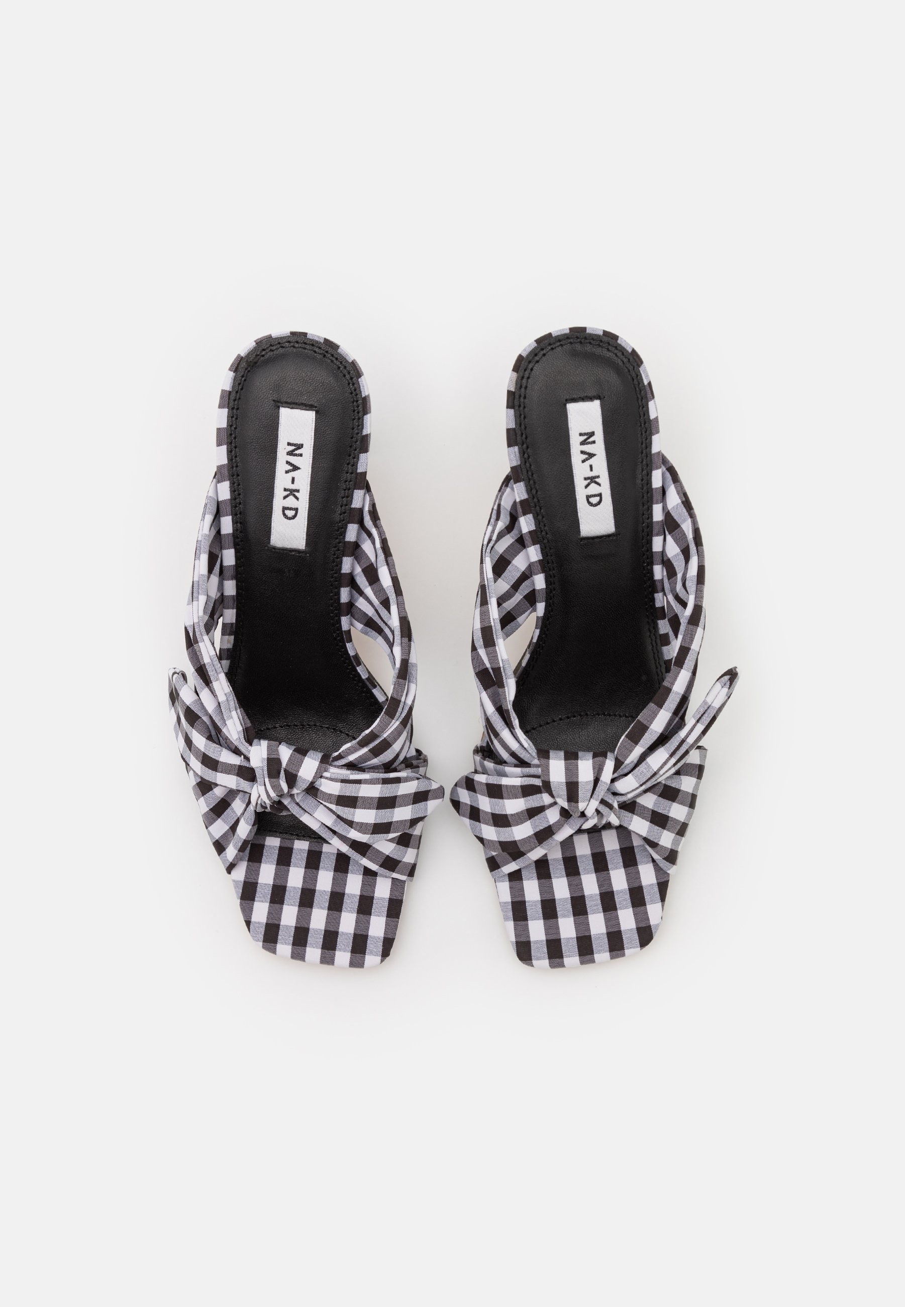 Women CHECKERED BOW MULES - Heeled mules