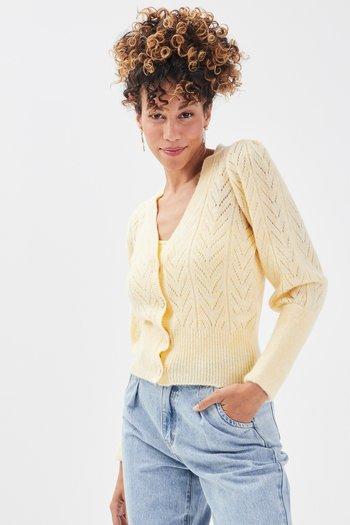 DURCHBROCHENE - Cardigan - jaune pastel