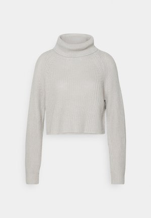 ROLL NECK BATWING CROP JUMPER - Strickpullover - grey