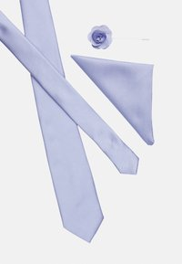 Burton Menswear London - WEDDING PLAIN WITH MATCHING FLOWER PIN SET - Tie - purple