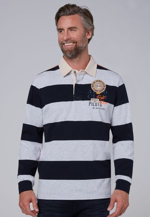 MIT TWILL-KRAGEN UND BACK ARTWORK - Polo shirt - white melange
