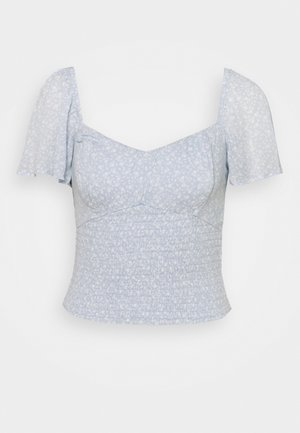 CINCH VNECK FLUTTER - Blouse - blue