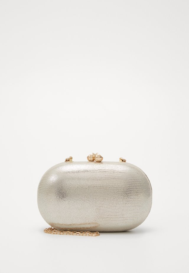 ROUNDED SNAKE BOX CLUTCH - Pochette - gold