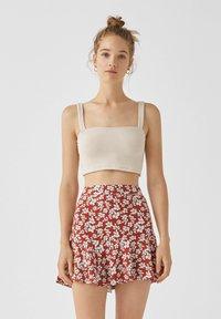 PULL&BEAR - MIT BLUMENPRINT - A-line skirt - light brown - 0