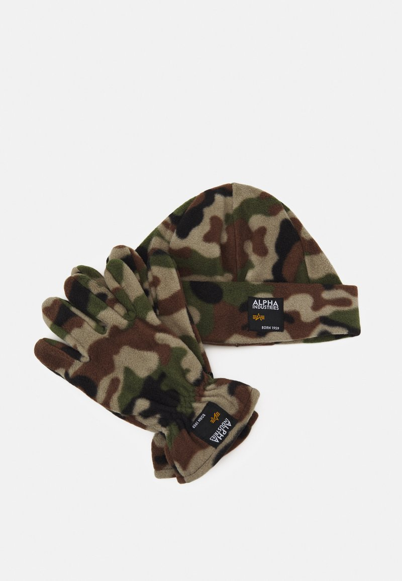 Alpha Industries - LABEL BEANIE AND GLOVE SET UNISEX - Pipo - woodland