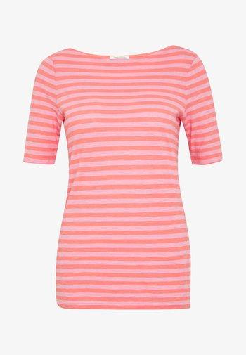 SHORT SLEEVE BOAT NECK STRIPED - Print T-shirt - multi/salty peach