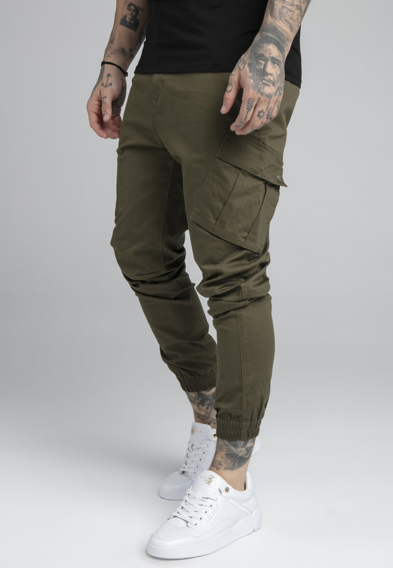 SIKSILK - FITTED CUFF PANTS - Cargobyxor - khaki