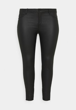 NMKIMMY NW COATED ANKLE PANTS - Bukse - black