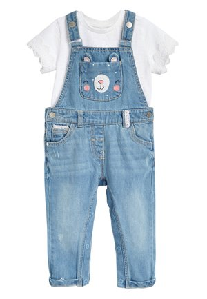 DENIM BLUE BEAR POCKET DUNGAREES AND T-SHIRT SET (3MTHS-7YRS) - Peto - blue