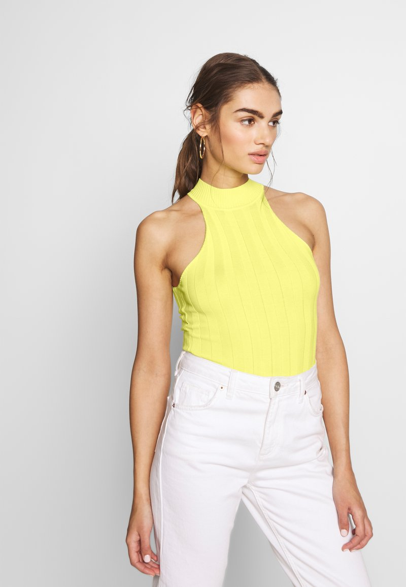 Missguided - RACER NECK RIBBED BODYSUIT - Top - yellow