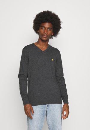 V NECK - Stickad tröja - charcoal