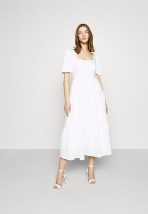 STRUCTURED VOLUME MIDI DRESS - Day dress - white