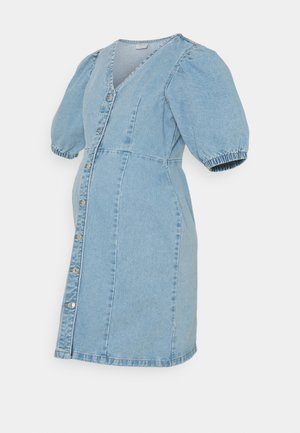 PCMGILI VNECK DRESS - Denim dress - light blue denim