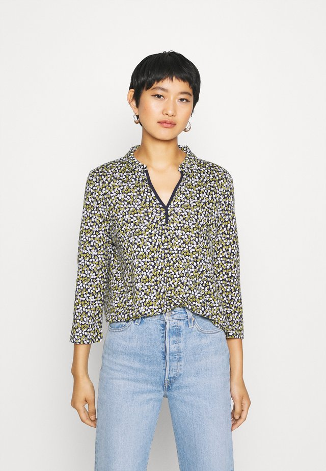 BLOUSE WITH COLLAR - Blouse - navy/green