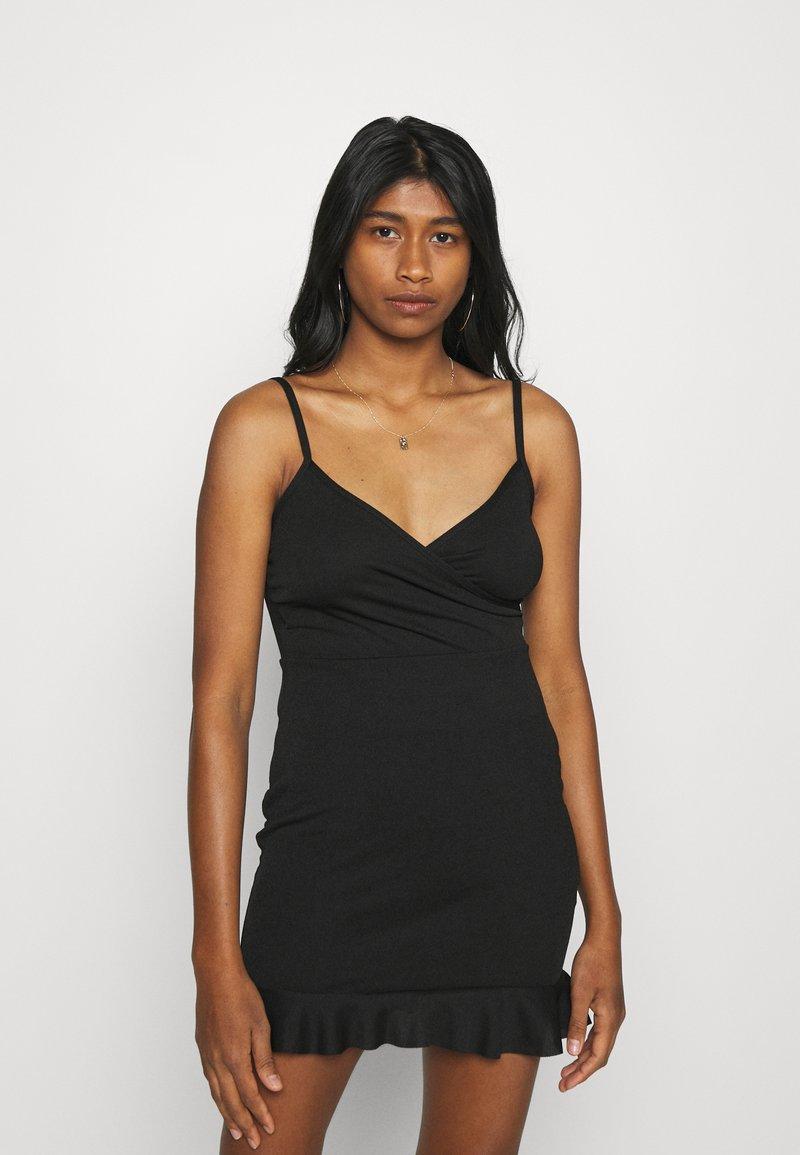 Missguided - WRAP CAMI RUFFLE MINI DRESS - Cocktail dress / Party dress - black