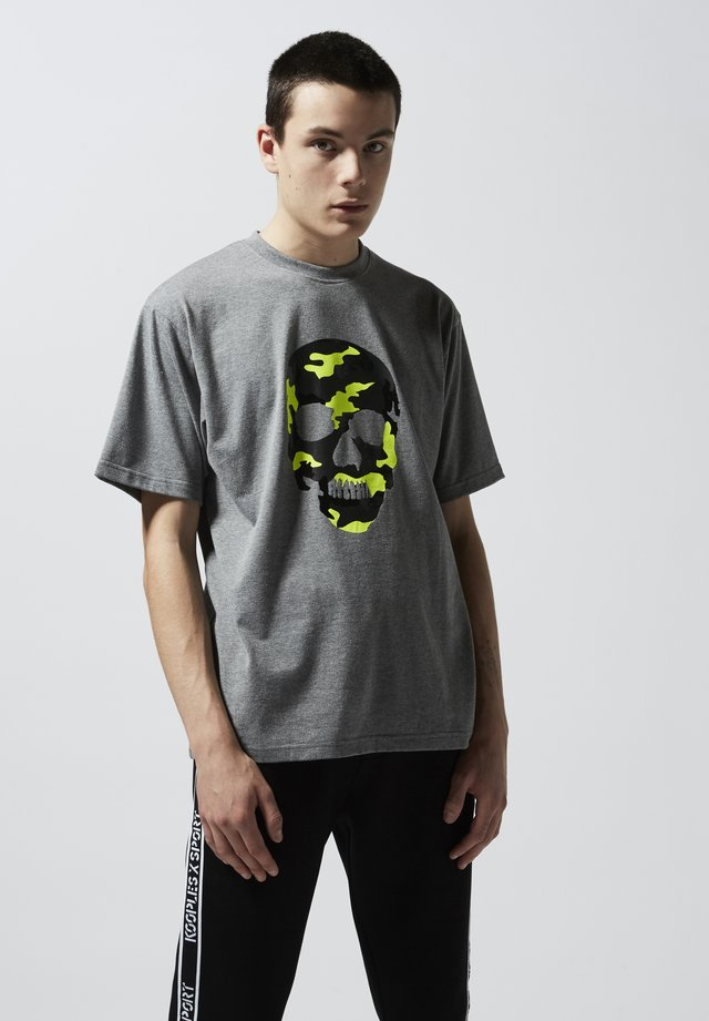 Print T-shirt - grey melange/yellow