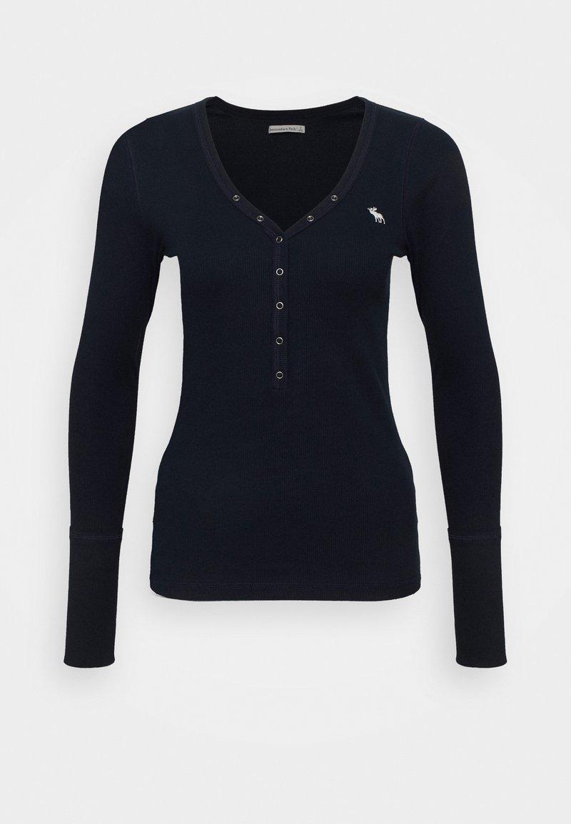 Abercrombie & Fitch - ICON HENLEY - Bluzka z długim rękawem - navy