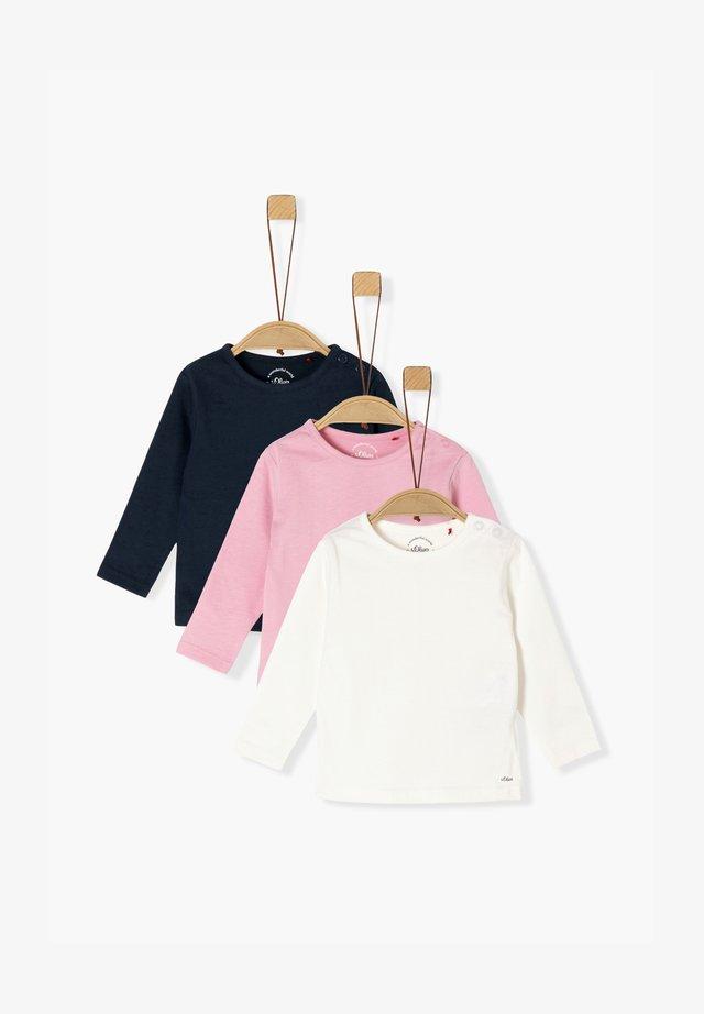 3ER-PACK - Long sleeved top - navy/pink/cream