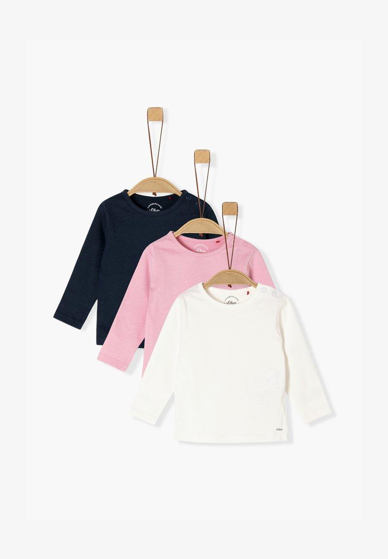 s.Oliver - 3ER-PACK - Long sleeved top - navy/pink/cream