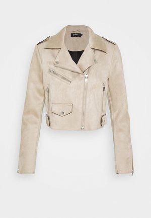 ONLSHERRY CROP BOND BIKER - Faux leather jacket - pumice stone