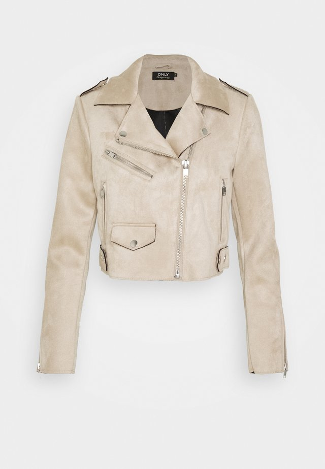 ONLSHERRY CROP BOND BIKER - Giacca in similpelle - pumice stone