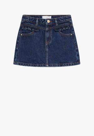 FRILL - Denim skirt - donkerblauw