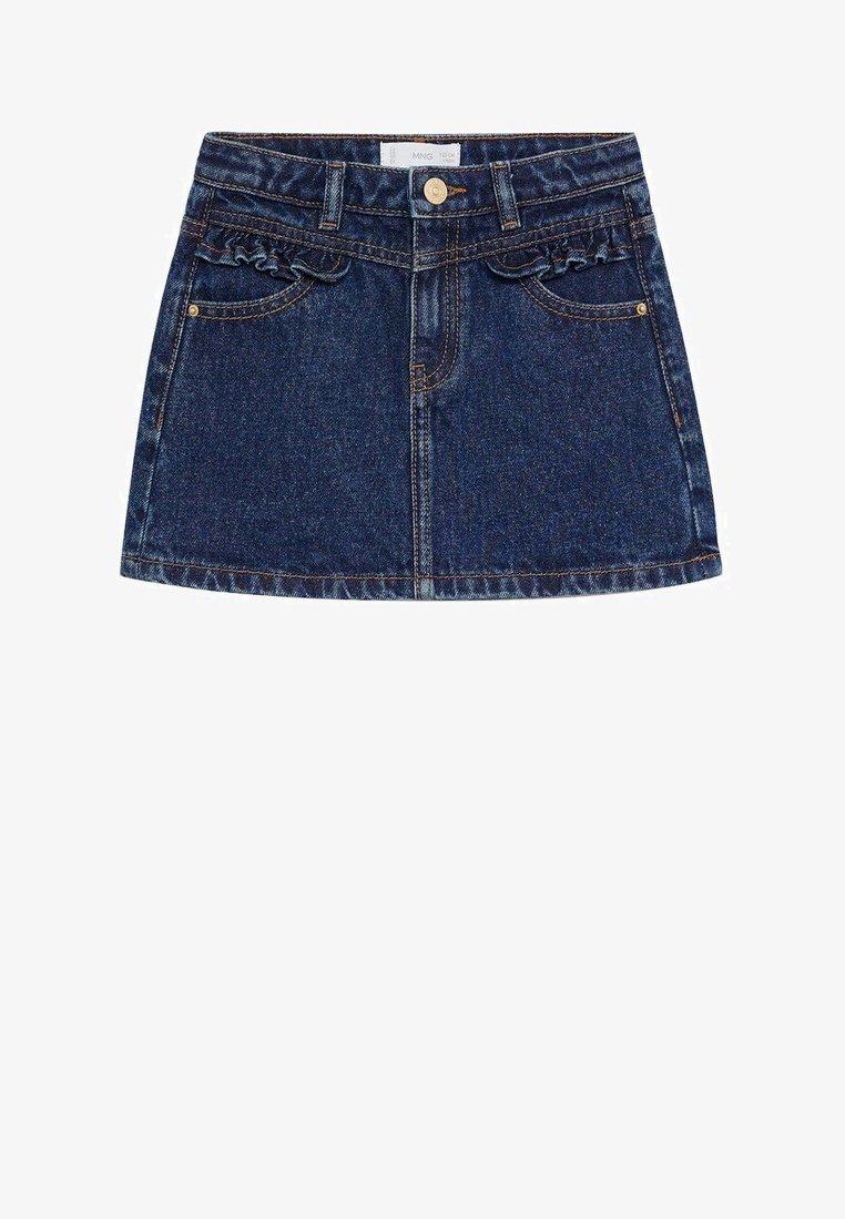 Mango - FRILL - Denim skirt - donkerblauw