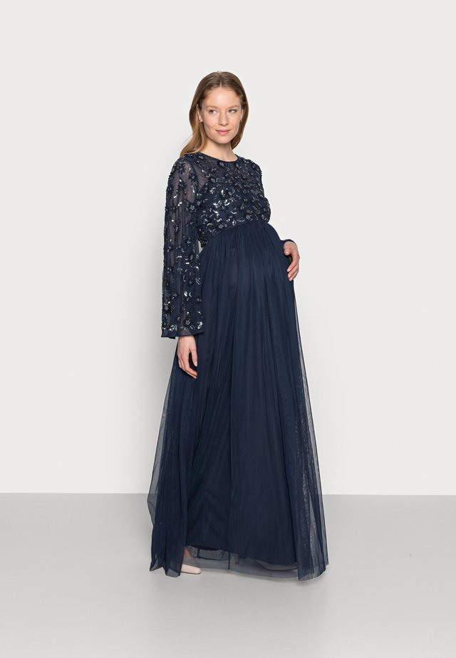 FLORAL EMBELLISHED BELL SLEEVE MAXI - Robe de cocktail - navy