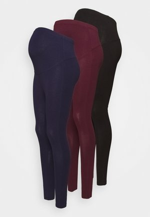 3 PACK - Leggings - Trousers - black/bordeaux/dark blue