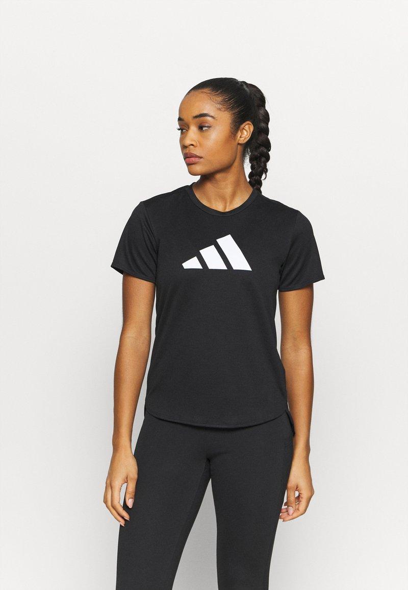 adidas Performance - LOGO TEE - Print T-shirt - black/white