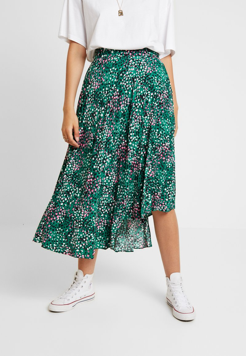 Topshop - PAINTED SPOT PLEAT MIDI - A-line skirt - green