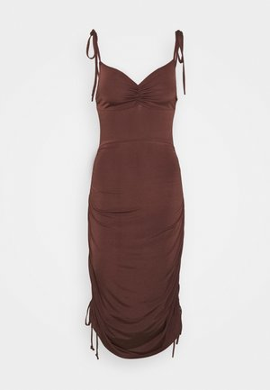 RUCHED DRAPY DRESS - Jersey dress - chocolate