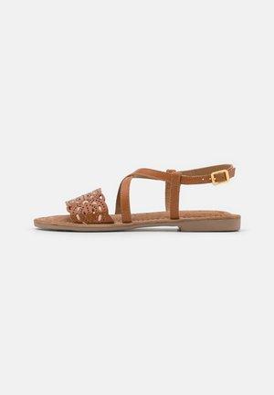 Sandals - brandy/cream