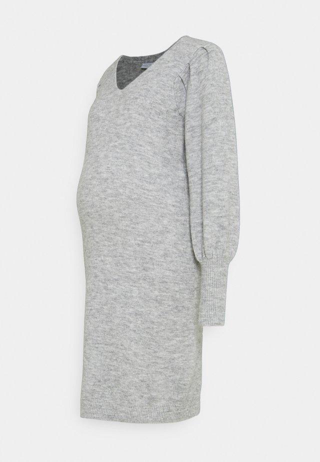 PCMPAM VNECK DRESS - Sukienka dzianinowa - light grey melange